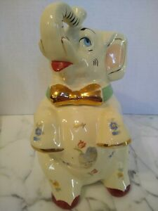 1930's Rare Shawnee Lucky Elephant Cookie Jar With Original Sticker