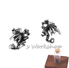 SILVER TONE FLAME DRAGON EARRINGS WITH BOTTLE STUD EARRINGS MENS WOMEN PIERCED
