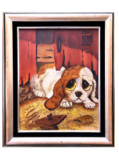 "Rare Margaret KEANE Big Eyed ""Puppy"" Signed, Oil on Canvas,Custom high-end frame"