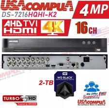 Hikvision 16 CH DVR  DS-7216HQHI-K2 2TB TVI-AHD-CVI + 2CH 4MP IP 4K-OUTPUT