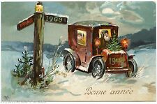 NOËL . CHRISTMAS . Millésime 1908-1909. Voiture ancienne . Old car. New year