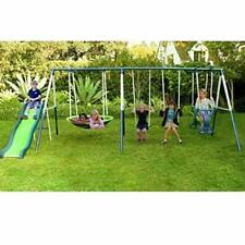 Skroutz Metal Swing Set Slide Backyard Outdoor Kids Play Fun