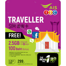 AIS Traveller 3GB/8 Days 4G/3G Thailand Voice Data Tourist Local Prepaid SIM