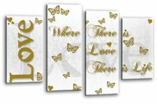 Love Family Quote Art Picture White Grey Gold Home Split Panel Wall Canvas