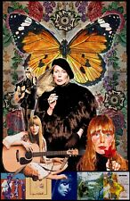 "Joni Mitchell--11x17""collage poster - vivid colors/deep blacks -signed by artist"