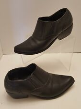 Dingo Black Leather Western Cowgirl Ankle Boots Booties Pointed Toe Womens 7.5 M