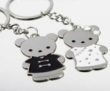 Wedding Lover Cute Bear Gift Key Buckle Alloy Metal Ring Chain Motor Keychain