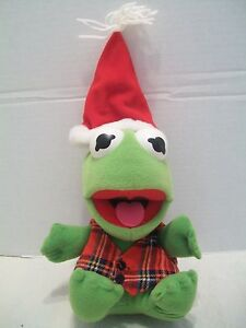 "7"" Baby Kermit The Frog Christmas Plush Henson Associates With Tush Tag 1987!"
