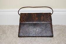 Ladies Brown Snakeskin - Patterned Leather Handbag