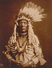 "1900 Old Photo, Native American Portrait, tomahawk, Piegan, Headdress, 14""x11"""
