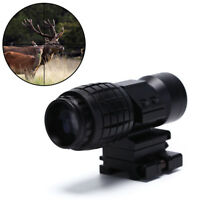 3X Magnifier Sight Scope 20mm Flip To Side Mounts Fit Red Dot Sight Airsoft PM