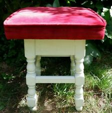 Nice Vintage/Antique Painted Wooden Stool, Padded Seat - Sturdy & Heavy