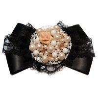 Broche satin dentelle noire perles nacrées fimo gothique lolita noeud papillon