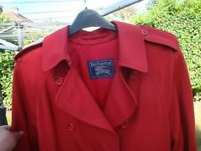 BURBERRY VINTAGE RED TRENCH COAT ALL WOOL BURELLA UK 14 X Long  GOOD Condition