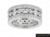 2.45Ct Round Diamond Wide 3Row Wedding Eternity Band Ring 10k Gold GH I1 Prong
