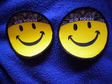 2 Stück Aufnäher / Patch - ACID HOUSE - SMILEY 7,5 cm Rund Neon-Gelb TECHNO/Neu
