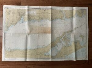 "Vintage 1977 East Long Island Sound Nautical Chart Map - 30"" x 48"""