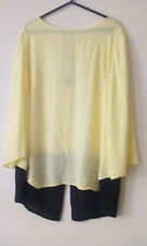 ladies,neon yellow,blouse w/black back,hem,size 16,never worn
