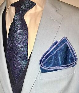 Pocket Square Dark Teal Blue & Baby Blue Stitched Borders By Squaretrapny.com