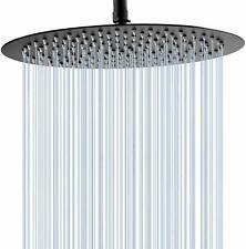 "Matte Black 12""Rainfall Shower Head Bathroom Round High Pressure Overhead Spray"
