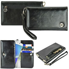 Black Women's Smart Phone Carry Wrist Strap Handle Leather Purse Bag Wallet Case