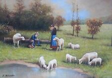 """Hand Painted Art Oil on Canvas 24"""" x 36"""" Sheep in the Meadow"""