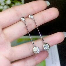 Dangle Drop Engagement & Wedding Bezel Set Earrings 14K White Gold 2 Ct Diamond