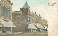 Indiana, IN, Redkey, K of P Block Early Postcard
