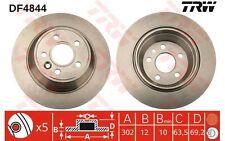 TRW Juego de 2 discos freno Trasero 302mm VOLVO V70 S80 XC70 DF4844