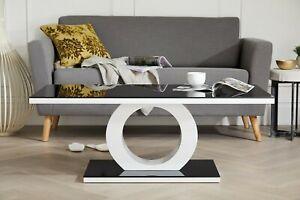 High Gloss Designer White Black Glass Modern Giovani Coffee Side Table Living