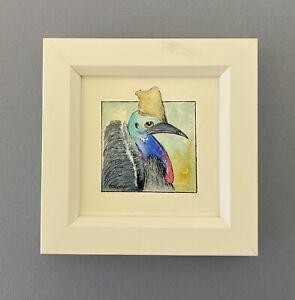 "Framed Original Watercolour Painting ""Cassowary Miniature""."