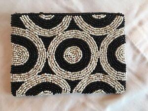 Art Deco Style Black White Beaded Small Purse Coin Makeup Bag Circles Geometric