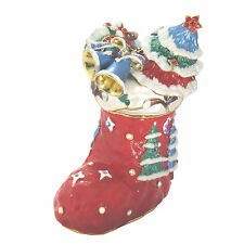 Red Christmas Stocking Figurine Trinket Box With Swarovski Elements Crystals