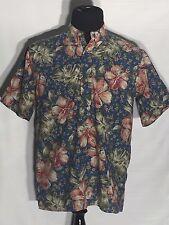 Reyn Spooner Hawaiian Traditionals Flowers Floral Medium M Polo Hawaiian Shirt