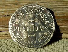 "1890 VIRGINIA CITY NEVADA NV RARE R9 ""RYAN & STENSON"" (DRY GOODS) 50c VA. TOKEN"