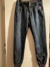 Size 14 Are Voodoo Dolls Blue Denim Jeans With Ankle Cuffs