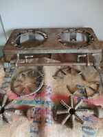 ESTATE NO 202 DOUBLE BURNER CAST IRON STOVE WITH LEGS VINTAGE ANTIQUE GRILL