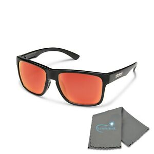 Suncloud Rambler (Medium Fit) Black Frame Polar Red Mirror Lenses with Cloth
