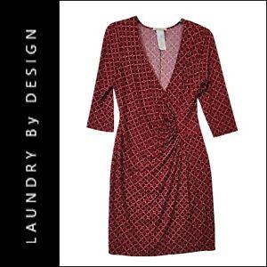 Laundry by Design Woman Faux Wrap Sheath Dress Stretch Size 14 Red / Black