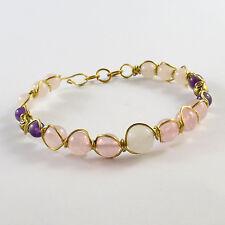 Women'S Rose Quartz & Quartz Amethyst Beads Brass Wire Wrapped Gemstone Bracelet