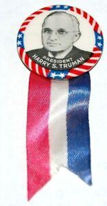 1948 HARRY TRUMAN RIBBON campaign pin pinback button political presidential
