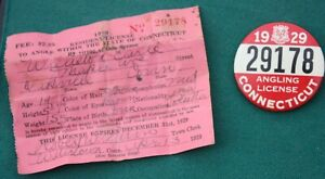 Original 1929 CONNECTICUT Angling ~ Fishing Badge Pin & Paper License