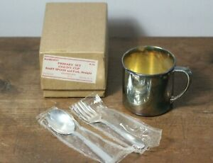 Vintage Oneida Silverplate Primary Set Child's Cup Baby Spoon & Fork Set NOS