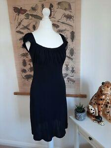 River Island UK 10 Milkmaid Dress Cami Slip Baby Doll Gypsy Mermaid Black Sexy