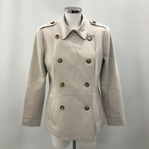 Jasper Conran Trench Coat Short Beige Size UK 12 Double Breasted Formal 162917