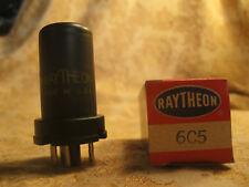 Single Vintage Nos Raytheon 6C5 metal Radio tube New Nib