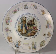 "Wedgwood Peter Rabbit and Benjamin Bunny Birthday Plate 1983 8"""