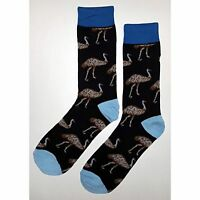 NWT Ostrich Emu Dress Socks Novelty Men 8-12 Black Fun Sockfly
