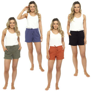 Ladies Womens Linen Hot Pants Summer Beach Lounge Pants UK Size 10 12 14 16 18