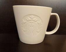 "Starbucks White Embossed ""T"" Coffee Tea Mug Cup 12 oz Mermaid Siren 2015"